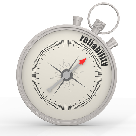 trustworthiness: Reliability compass image with hi-res rendered artwork that could be used for any graphic design. Stock Photo