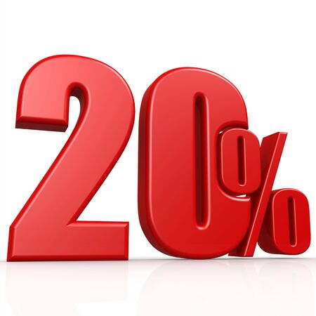 numbers clipart: Twenty percent image with hi-res rendered artwork that could be used for any graphic design.