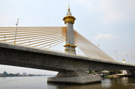 nonthaburi: BANGKOK-MAR 26: View of newly built Nonthaburi 1 Bridge in Bangkok on March 26, 2015. The six-lane, 4.3km Nonthaburi 1 Bridge will help ease traffic in Nonthaburi.