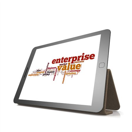 trading board: Enterprise value word cloud on tablet image with hi-res rendered artwork that could be used for any graphic design. Stock Photo