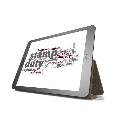 privatization: Stamp duty word cloud on tablet image with hi-res rendered artwork that could be used for any graphic design. Stock Photo