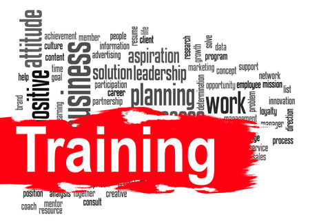 hires: Training word cloud image with hi-res rendered artwork that could be used for any graphic design. Stock Photo