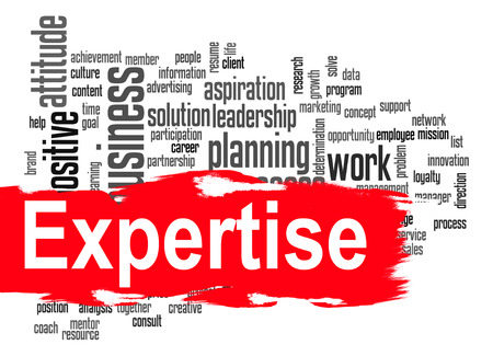 Expertise word cloud image with hi-res rendered artwork that could be used for any graphic design.
