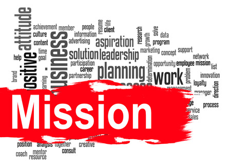 Mission word cloud image with hi-res rendered artwork that could be used for any graphic design. photo