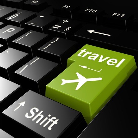 Travel Key And Airplane Symbol On Keyboard Of Laptop Computer