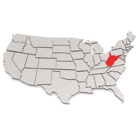 3d virginia: West Virginia map image with hi-res rendered artwork that could be used for any graphic design. Stock Photo