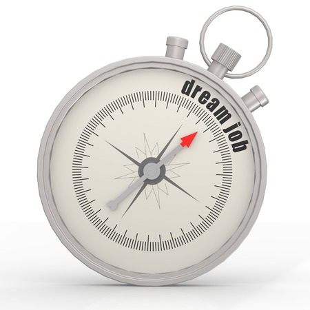 dream job: Dream job compass image with hi-res rendered artwork that could be used for any graphic design. Stock Photo