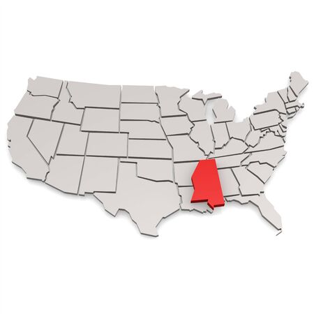 topographical: Mississippi map image with hi-res rendered artwork that could be used for any graphic design.
