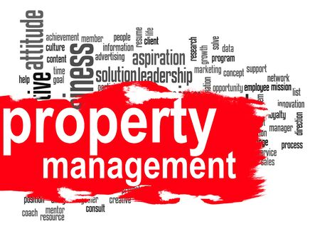 property management: Property management word cloud image with hi-res rendered artwork that could be used for any graphic design. Stock Photo