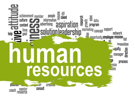 ingenuity: Human resources word cloud image with hi-res rendered artwork that could be used for any graphic design. Stock Photo