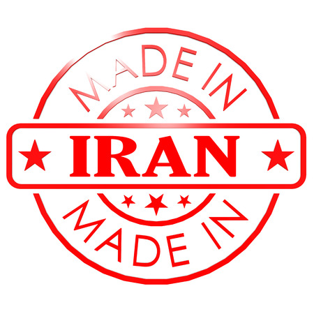 could: Made in Iran red seal image with hi-res rendered artwork that could be used for any graphic design.