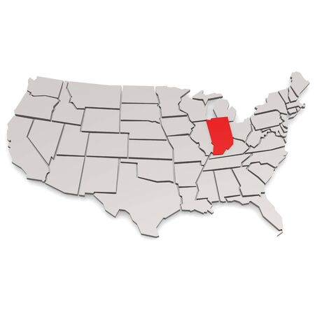 republics: Indiana map image with hi-res rendered artwork that could be used for any graphic design.