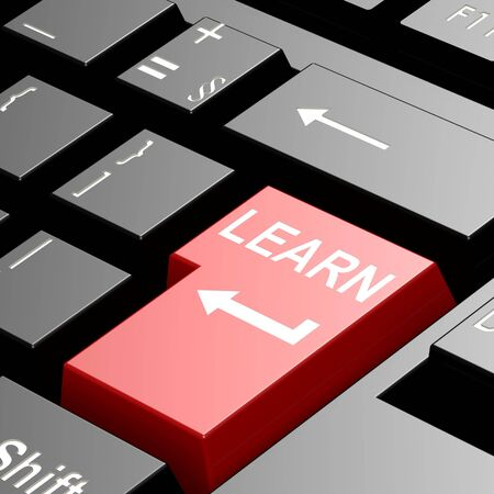leading education: Learn keyboard image with hi-res rendered artwork that could be used for any graphic design.