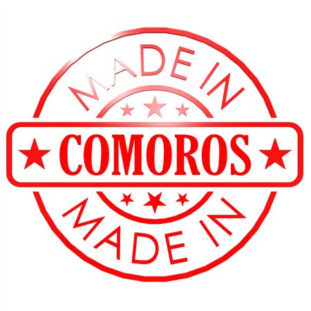 red seal: Made in Comoros red seal image with hi-res rendered artwork that could be used for any graphic design.