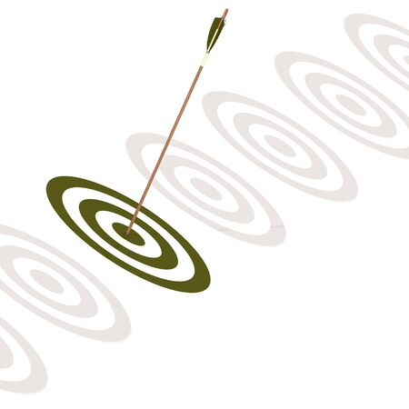 green board: Arrow hitting the center of a green board image with hi-res rendered artwork that could be used for any graphic design. Stock Photo