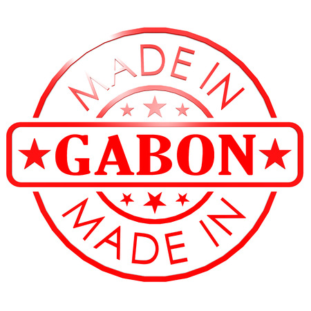 Made in Gabon red seal image with hi-res rendered artwork that could be used for any graphic design. photo