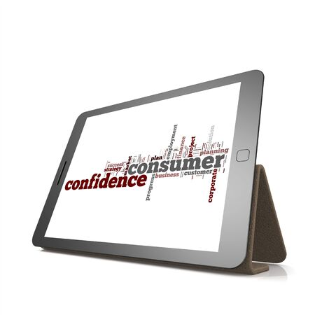 trading board: Consumer confidence word cloud on tablet image with hi-res rendered artwork that could be used for any graphic design.