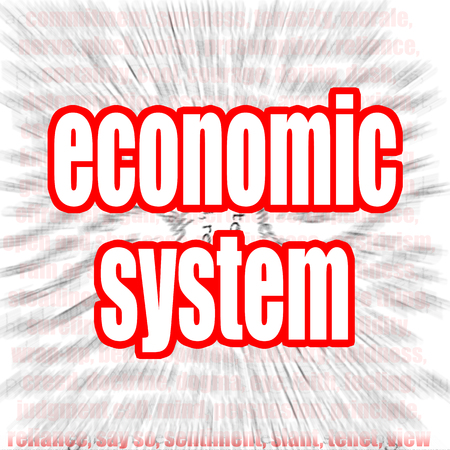 economic cycle: Economic system word cloud image with hi-res rendered artwork that could be used for any graphic design.