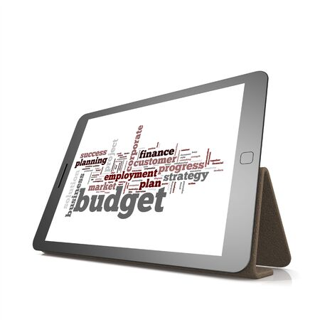 trading board: Budget word cloud on tablet image with hi-res rendered artwork that could be used for any graphic design.