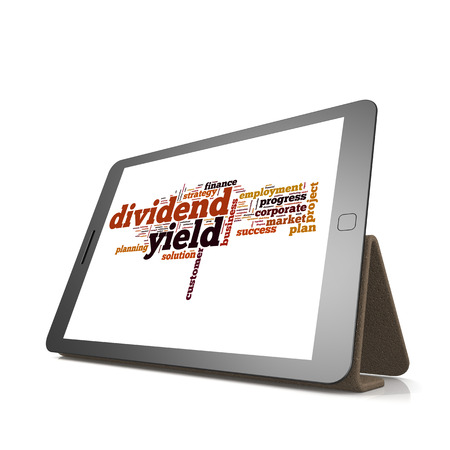 yield: Dividend yield word cloud on tablet image with hi-res rendered artwork that could be used for any graphic design.
