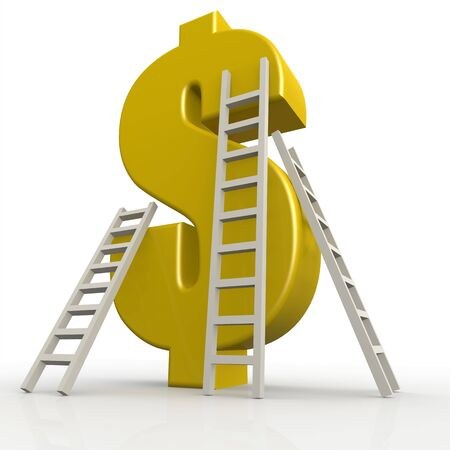 Yellow dollar sign with white ladder image with hi-res rendered artwork that could be used for any graphic design.
