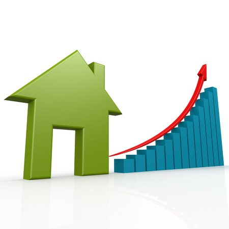 brokerage: Green house with growth chart image with hi-res rendered artwork that could be used for any graphic design. Stock Photo