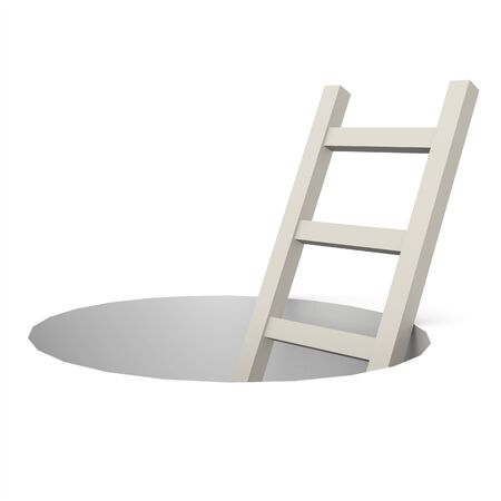 could: Ladder from hole image with hi-res rendered artwork that could be used for any graphic design. Stock Photo
