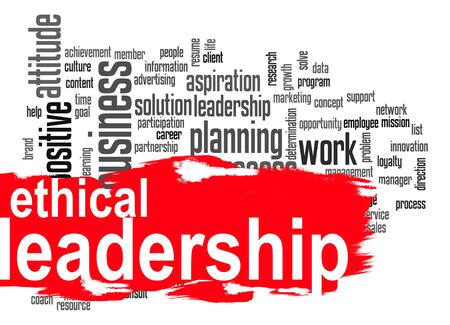 universally: Ethical leadership word cloud image with hi-res rendered artwork that could be used for any graphic design.