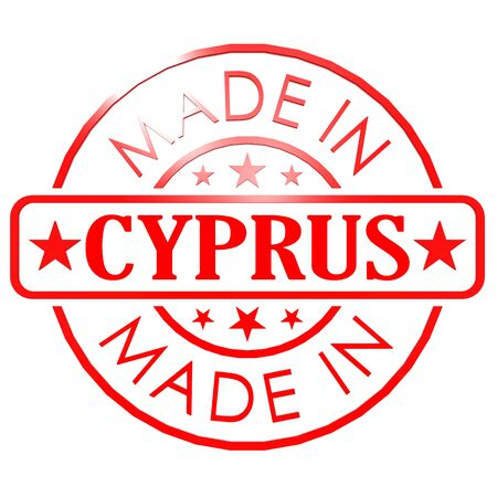 Made in Cyprus red seal image with hi-res rendered artwork that could be used for any graphic design. photo