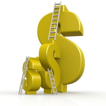 Yellow dollar signs with white ladder image with hi-res rendered artwork that could be used for any graphic design.