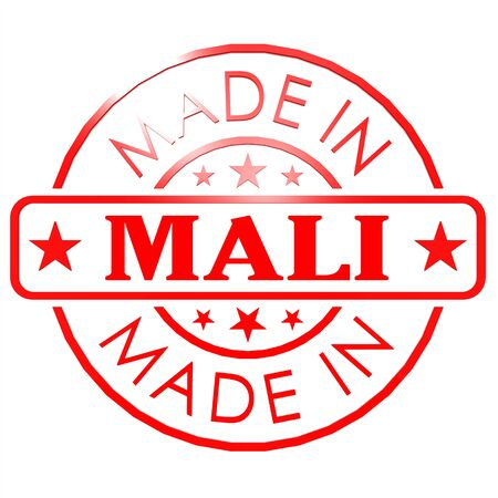 Made in Mali red seal image with hi-res rendered artwork that could be used for any graphic design. photo