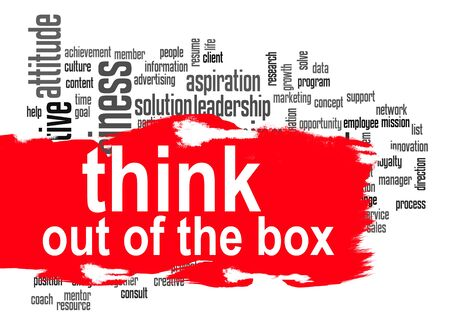 think out of the box: Think out of the box word cloud image with hi-res rendered artwork that could be used for any graphic design.