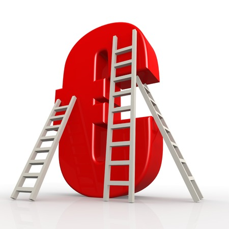 maintainer: Red euro sign with ladder image with hi-res rendered artwork that could be used for any graphic design.