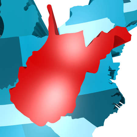 3d virginia: West Virginia map on blue USA map image with hi-res rendered artwork that could be used for any graphic design. Stock Photo