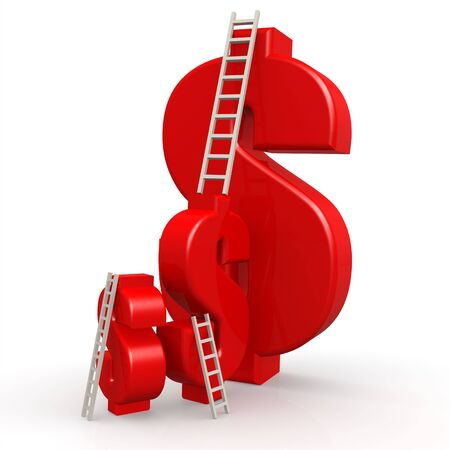 Red dollar signs with ladder image with hi-res rendered artwork that could be used for any graphic design. Stock Photo