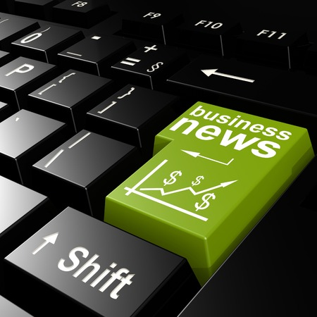 exceeds: Business news word on the green enter keyboard image with hi-res rendered artwork that could be used for any graphic design.