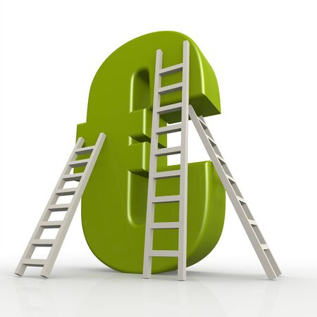 Green euro sign with ladder image with hi-res rendered artwork that could be used for any graphic design.