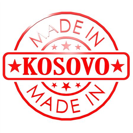 could: Made in Kosovo red seal image with hi-res rendered artwork that could be used for any graphic design. Stock Photo