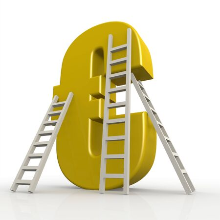 Yellow euro sign with ladder image with hi-res rendered artwork that could be used for any graphic design. Stock Photo