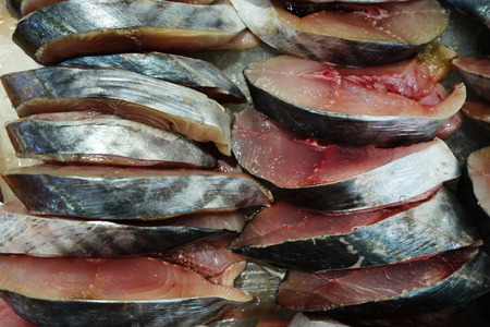 blubber: Freshed fish slices sell in local market