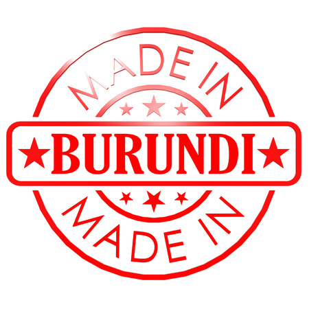 red seal: Made in Burundi red seal image with hi-res rendered artwork that could be used for any graphic design. Stock Photo