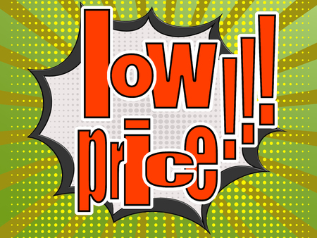 low price: Low price comic speech bubble image with hi-res rendered artwork that could be used for any graphic design. Stock Photo