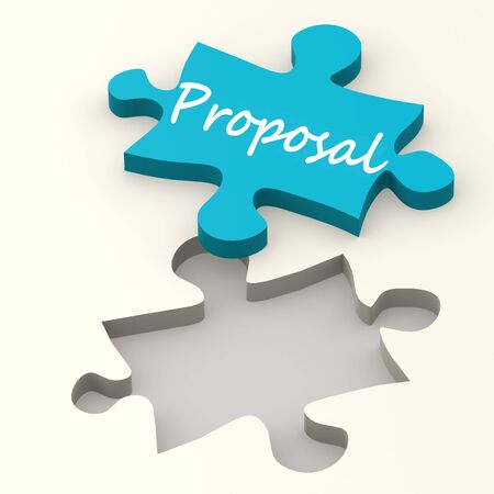 proposition: Proposal blue puzzle image with hi-res rendered artwork that could be used for any graphic design.