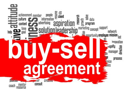sums: Buy-sell agreement word cloud with red banner image with hi-res rendered artwork that could be used for any graphic design.