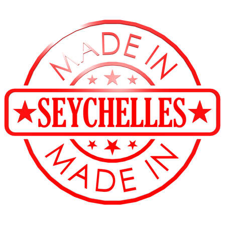 red seal: Made in Seychelles red seal image with hi-res rendered artwork that could be used for any graphic design. Stock Photo
