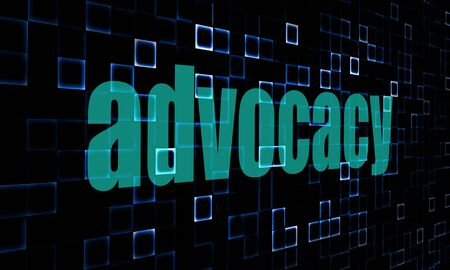 encouragements: Pixelated words advocacy on digital background image with hi-res rendered artwork that could be used for any graphic design. Stock Photo