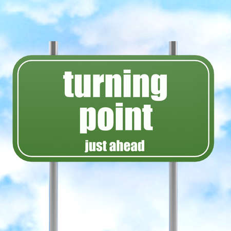 turning point: Turning point on green road sign image with hi-res rendered artwork that could be used for any graphic design. Stock Photo