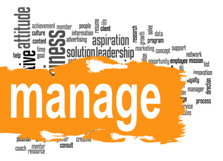 difficult to find: Manage word cloud image with hi-res rendered artwork that could be used for any graphic design. Stock Photo