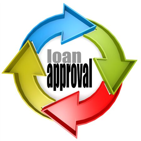 borrowing: Loan approval color cycle sign image with hi-res rendered artwork that could be used for any graphic design.