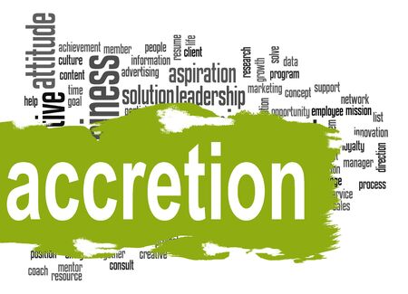 accession: Accretion word cloud with green banner image with hi-res rendered artwork that could be used for any graphic design.
